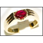 Stunning Natural Solitaire Ruby Solid 18K Yellow Gold Ring [RS0118]