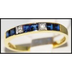 Diamond Blue Sapphire Gorgeous 18K Yellow Gold Band Ring [R0025]