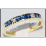Genuine Diamond 18K Yellow Gold Blue Sapphire Band Ring [R0032]