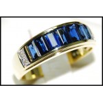 Baguette Gorgeous Blue Sapphire Diamond Ring 18K Yellow Gold [RQ0002]