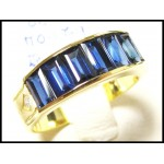 18K Yellow Gold Stunning Diamond Baguette Blue Sapphire Ring [RQ0028]