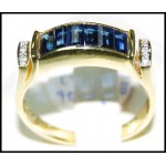 Natural 18K Yellow Gold Diamond Baguette Blue Sapphire Ring [RQ0036]