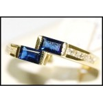 Natural Diamond Baguette Blue Sapphire 18K Yellow Gold Ring [RQ0037]