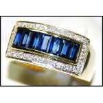 Baguette Blue Sapphire Diamond Natural 18K Yellow Gold Ring [RQ0048]
