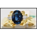 18K Yellow Gold Genuine Diamond Blue Sapphire Solitaire Ring [R0104]