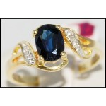 Blue Sapphire Diamond Estate 18K Yellow Gold Solitaire Ring [R0106]