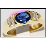 Diamond Solitaire Estate Blue Sapphire 18K Yellow Gold Ring [R0108]