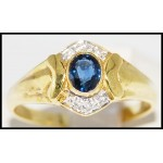 Genuine Blue Sapphire Diamond 18K Yellow Gold Solitaire Ring [R0116]