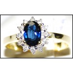Estate 18K Yellow Gold Diamond Solitaire Blue Sapphire Ring [RS0001]