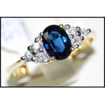 Estate Diamond 18K Yellow Gold Solitaire Blue Sapphire Ring [RS0012B]