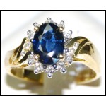 18K Yellow Gold Oval Blue Sapphire Diamond Solitaire Ring [RS0026]