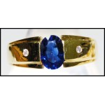 Diamond Solitaire Oval Blue Sapphire 18K Yellow Gold Ring [RS0063]