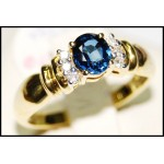 18K Yellow Gold Diamond Solitaire Blue Sapphire Estate Ring [RS0086]