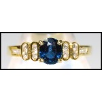 18K Yellow Gold Genuine Solitaire Diamond Blue Sapphire Ring [RS0090]