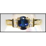 Solitaire Diamond Blue Sapphire Estate 18K Yellow Gold Ring [RS0092]