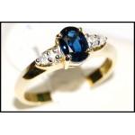 18K Yellow Gold Natural Diamond Solitaire Blue Sapphire Ring [RS0094]