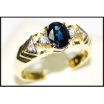 Estate Blue Sapphire Solitaire Diamond 18K Yellow Gold Ring [RS0102]