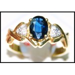 Estate Solitaire Blue Sapphire 18K Yellow Gold Diamond Ring [RS0110]