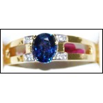 18K Yellow Gold Diamond Genuine Solitaire Blue Sapphire Ring [RS0183]