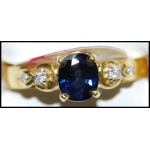 Diamond Estate Solitaire 18K Yellow Gold Blue Sapphire Ring [RS0197]