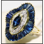 Diamond Stunning Cocktail 18K Yellow Gold Blue Sapphire Ring [RB0003]