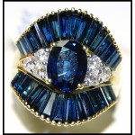 Cocktail Stunning Blue Sapphire Diamond 18K Yellow Gold Ring [RB0004]