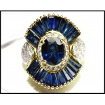 18K Yellow Gold Genuine Diamond Blue Sapphire Cocktail Ring [RB0005]