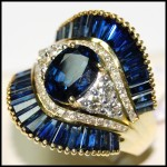 Diamond 18K Yellow Gold Stunning Cocktail Blue Sapphire Ring [RB0006]