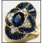 Cocktail Blue Sapphire Gorgeous Diamond Ring 18K Yellow Gold [RB0007]