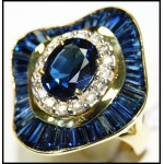 Cocktail Gorgeous 18K Yellow Gold Diamond Blue Sapphire Ring [RB0008]
