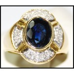 Genuine Diamond 18K Yellow Gold Cocktail Blue Sapphire Ring [RB0025]
