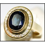 Diamond Stunning 18K Yellow Gold Blue Sapphire Cocktail Ring [RB0028]