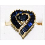 Diamond Genuine Blue Sapphire 18K Yellow Gold Heart Ring [RF0023]