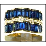 Cocktail Diamond 18K Yellow Gold Stunning Blue Sapphire Ring [RQ0014]