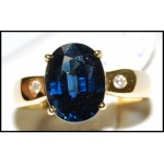 Gorgeous Blue Sapphire Cocktail Diamond 18K Yellow Gold Ring [RS0150]
