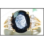 Genuine Diamond Cocktail Blue Sapphire 18K Yellow Gold Ring [RS0151]