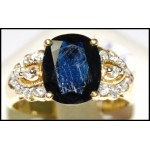 Estate Diamond Cocktail Blue Sapphire Ring 18K Yellow Gold [RS0153]