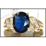 Cocktail Gorgeous Blue Sapphire Diamond 18K Yellow Gold Ring [RS0155]