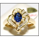 Stunning Gemstone Diamond 18K Yellow Gold Blue Sapphire Ring [RB0017]