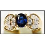 Stunning Diamond Gemstone Blue Sapphire Ring 18K Yellow Gold [RB0024]