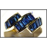 Gemstone 18K Yellow Gold Stunning Baguette Blue Sapphire Ring [RQ0004]