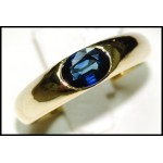 Natural Gemstone Blue Sapphire 18K Yellow Gold Solitaire Ring [RS0014]