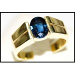Oval Blue Sapphire Gemstone Solitaire 18K Yellow Gold Ring [RS0054]
