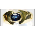 Gemstone 18K Yellow Gold Estate Solitaire Blue Sapphire Ring [RS0057]