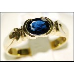 Gemstone Estate Blue Sapphire 18K Yellow Gold Solitaire Ring [RS0061]