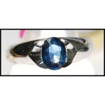 Estate 18K White Gold Gemstone Solitaire Blue Sapphire Ring [RS0050]