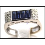 Blue Sapphire Diamond Gemstone Exclusive 18K White Gold Ring [R0004]