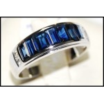 Genuine Blue Sapphire Gemstone Diamond 18K White Gold Ring [RQ0002]
