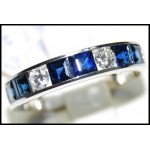 Genuine Gemstone Diamond Blue Sapphire 18K White Gold Ring [RQ0003]