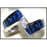 Stunning Diamond Gemstone Blue Sapphire Ring 18K White Gold [RQ0005]